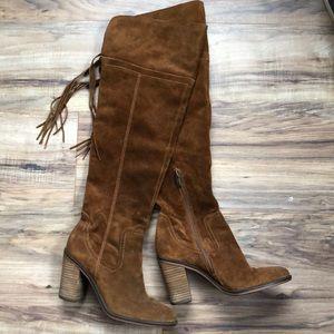 Franco Sarto Warm Brown Suede Knee Boots 8M